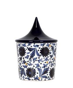 CERAMICA GATTI 1928 | White Gold Floral Design Candle W/ Lid