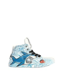 BE KOOL | Shark Printed Leather High Top Sneakers