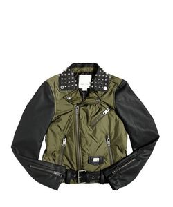 Diesel Kids | Padded Nylon Faux Leather Biker Jacket