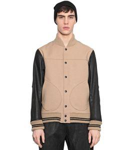 08SIRCUS | Leather Double Wool Bomber Jacket