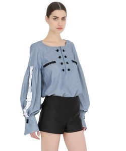 ACIEL | Cotton Denim Shirt With Decorative Trim