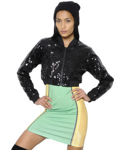 ADIDAS BY JEREMY SCOTT | Quilted Sequined Cropped Bomber Jacket
