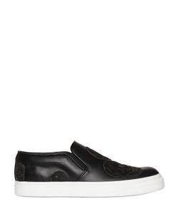 Alexander McQueen | Suede Skulls On Leather Slip-On Sneakers