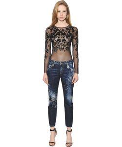 Amen | Leopard Pattern Beaded Tulle Bodysuit