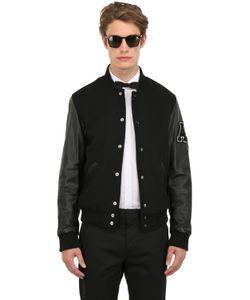 American College   Leather Wool Varsity Jacket