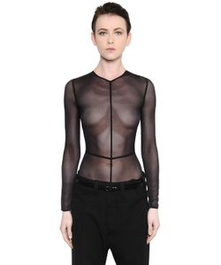 Ann Demeulemeester | Stretch Tulle Long Sleeve Bodysuit