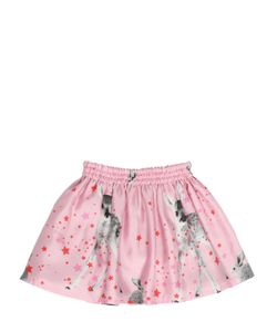 ANNE KURRIS | Deer Printed Silk Satin Skirt