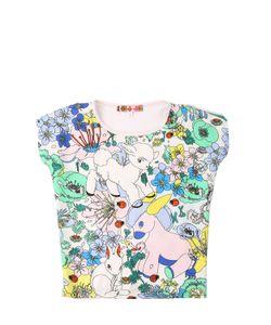 ANNE KURRIS | Printed Silk Satin Cotton T-Shirt