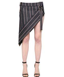 Anthony Vaccarello | Striped Asymmetrical Denim Mini Skirt
