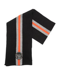 Armani Junior | Knitted Blend Wool Scarf With Logo Patch