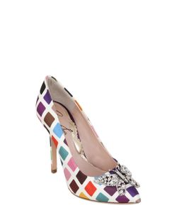 ARUNA SETH | 110mm Swarovski Printed Silk Satin Pumps