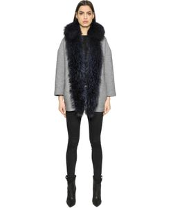 AVA ADORE   Boiled Wool Coat With Murmansky Fur