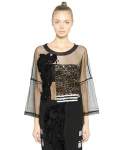 Aviù | Oversized Embroidered Tulle Top