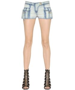Balmain | Washed Stretch Cotton Denim Shorts