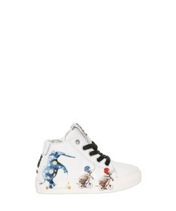 BE KOOL | Elephant Print Leather High Top Sneakers