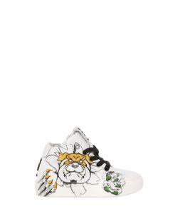 BE KOOL | Bulldog Print Leather High Top Sneakers