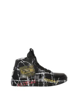 BE KOOL | Barbed Wire Leather High Top Sneakers
