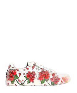 BE KOOL | Roses Printed Leather Slip-On Sneakers
