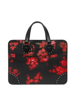 BERTONI 1949 | Hand-Painted Flowers Leather Briefcase