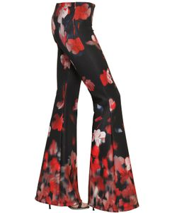 BLACK CORAL | Printed Neoprene Flared Leggings