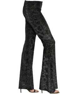 BLACK CORAL | Jacquard Velvet Flared Leggings