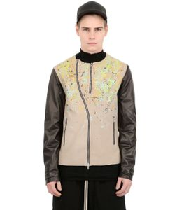 BLACK DIONISO | Splatter Painted Leather Moto Jacket