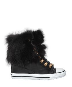 BLACK DIONISO | 80mm Fox Fur Leather Wedge Sneakers