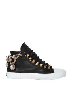 BLACK DIONISO | 20mm Rope Embellished Leather Sneakers