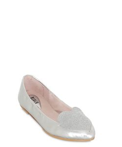 Bloch   Glitter Heart Patent Leather Ballerinas
