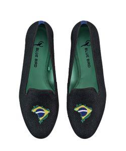 BLUE BIRD | Brazilian Flag Embroidered Linen Loafers