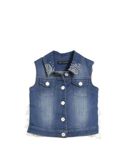Blumarine Jeans | Embellished Denim Vest With Ruffles
