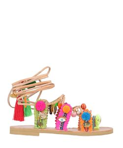 BONBON | Kallirroi Pom Poms Leather Sandals