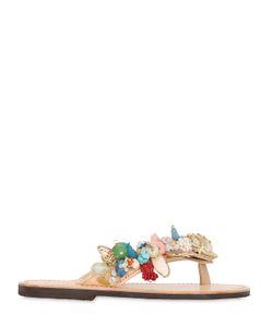BONBON | Leda Shells Embellished Leather Sandals