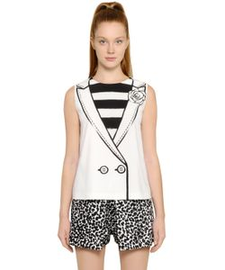 BOUTIQUE MOSCHINO | Vest With Flower Printed Techno Cady Top