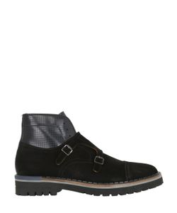 Brimarts | Double Monk Strap Suede Ankle Boots