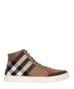 Burberry | Check Cotton Canvas High Top Sneakers