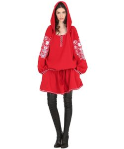 CC BY CAMILLA CAPPELLI | Matrioska Embroide Crepe Hooded Dress