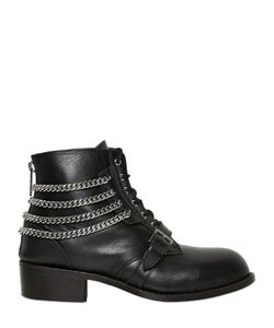 CHRISTIAN DADA | Chained Leather Lace-Up Boots