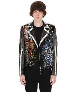 CHRISTOPHE TERZIAN   Swarovski Crystals Suede Biker Jacket