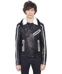 CHRISTOPHE TERZIAN | Perfecto Studded Leather Jacket W/ Fur