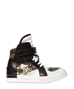 Cinzia Araia | Satin And Leather High Top Sneakers