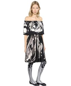 CLAIRE BARROW | Ruffled Printed Satin Dress
