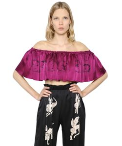 CLAIRE BARROW | Cropped Ruffled Printed Satin Top