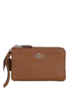 COACH NY | Double Zip Leather Wallet W/ Wrist Strap