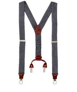 COR SINE LABE DOLI | Houndstooth Printed Silk Suspenders