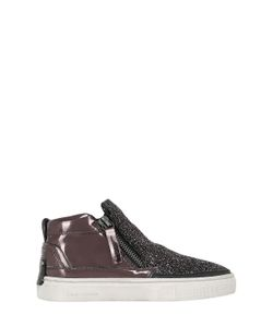 Crime | Glittered Metallic Leather Sneakers