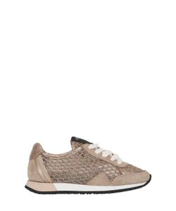 Crime | Glittered Mesh Suede Running Sneakers