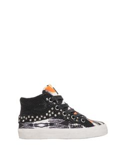 Crime | Studded Cotton Canvas High Top Sneakers