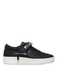 D-S!DE | Chained Python Effect Leather Sneakers
