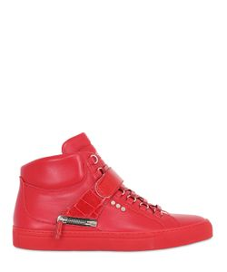 D-S!DE | Leather High Top Sneakers W/ Croc Detail